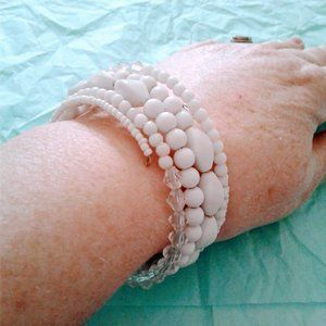 Jewelry - white and clear multi bead wrap bracelet